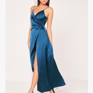MissGuided Silky Wrap Over Maxi Dress Side Slit